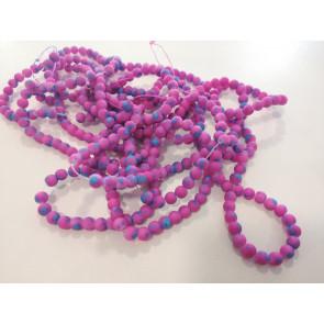 steklene perle - obložene 6 mm, okrogle, vijola, 1 niz-80 cm