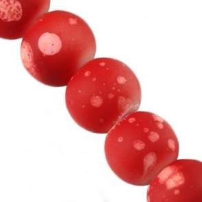 steklene perle - obložene 4 mm, okrogle, sv. rdeče, 1 niz-80 cm