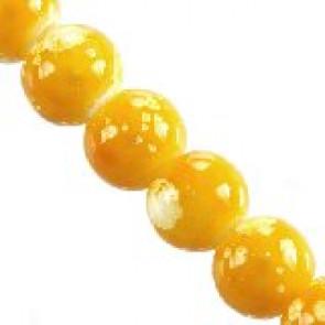 steklene perle 4 mm, rumene, 1 niz-80 cm