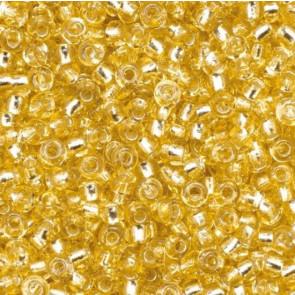 EFCO steklene perle 2,6 mm, zlate, prosojne s posrebreno luknjico, 17 g