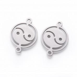 """obesek/vmesnik za nakit, ploščat krog """"jin&jang"""", 22x16x1.5 mm, nerjaveče jeklo, 1 kos"""
