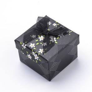darilna embalaža, 5,1x5,1x5,3,9 cm, črna b., 1 kos