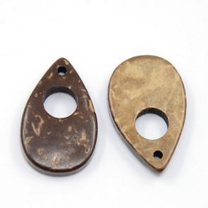 kokos perle solza 25x15x5 mm, t. rjave, 1 kos