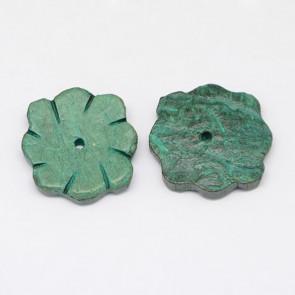 kokos perle roža 19~21x3~5 mm, zelene, 1 kos