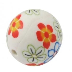 fimo perle okrogle 8 mm, bele, ročno delo, 5 kos