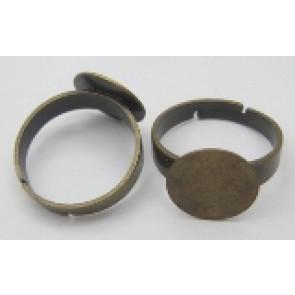 osnova za prstan s ploščico 12 mm, premer nastavljivega obročka: 18 mm, antik, brez niklja, 1 kos
