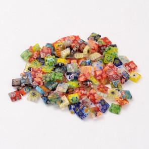 steklena kapljica Millefiori, 8~11x7~8x1~4mm, mix, 1 kos