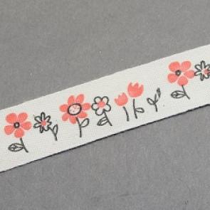 bombažni trak 15 mm, rožice, 1 m