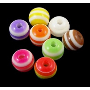 plastične perle - okrogle 6 mm, pisane, mix 10 kos