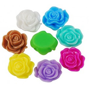 roža - umetna masa, 13x5 mm, zelena, 1 kos