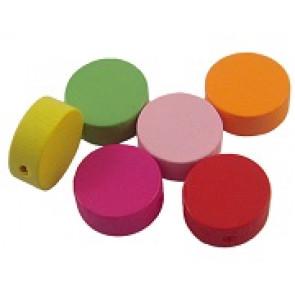 lesene perle - okrogle, 13x5mm, mix, 5 kos