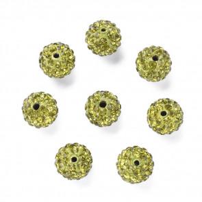 fimo perle s kristali olivne b., 10 mm, velikost luknje: 1.5 mm, 1 kos