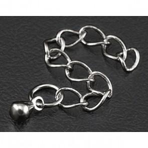 zaključek za ogrlico 40~58x3 mm, platinaste b., brez niklja, 1 kos