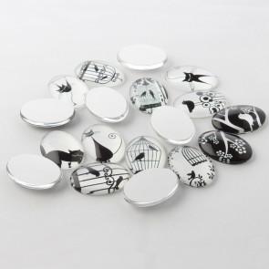 steklena kapljica 25x18x6 mm, vzorec mačke, črno-bela b., 1 kos