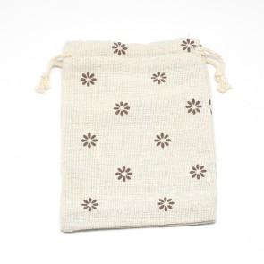 vrečke iz blaga - bombaž, 14x10 cm, beige z rjavimi rožicami, 1 kos