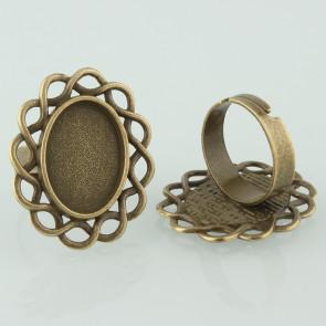 osnova za prstan za kapljico 18X13 mm, premer nastavljivega obročka: 17 mm, antik, brez niklja, 1 kos