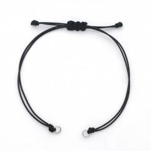 osnova za zapestnico - bombažna povoščena vrvica (obročki iz nerjavečega jekla), nastavljiva, 13~14x3 mm, črna, 1 kos