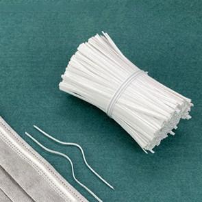 žica za obrazno masko - žica v ploščatem zaščitnem ovoju, širina: 3 mm, bele b., 1 kos (10 cm)