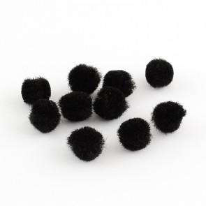 pom pom kroglice 10 mm, črne, 50 kos