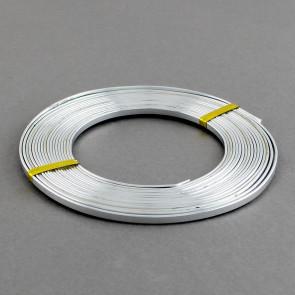 alu barvna žica za oblikovanje - ploščata, širina: 5 mm, debelina: 1 mm, srebrna, 2 m