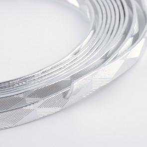 alu barvna žica za oblikovanje - ploščata, širina: 5 mm, debelina: 1 mm, srebrne barve, 2 m