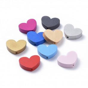 lesene perle, oblika srca, 7x23x29 mm, luknja: 2.5 mm, mix, 5 kos