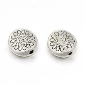 perla Tibetanski slog, brez svinca in niklja, ravno-okroglo, 8,5x8,5x3,5 mm, starinsko srebro, 1 kos