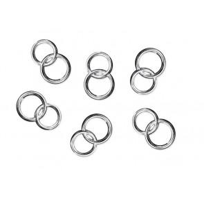 akrilni dekorativni poročni prstani, 15 mm, srebrne barve, 1 kos