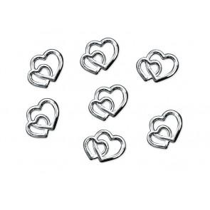 akrilni srčki, 10 mm, srebrne barve, 1 kos