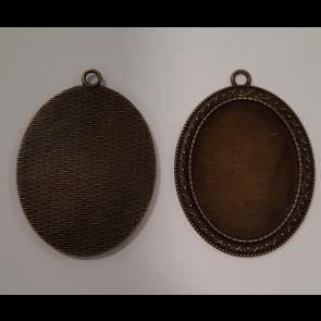 osnova za obesek - medaljon 54.5x40x2mm, antik, brez niklja, velikost kapljice: 30x40 mm, 1 kos
