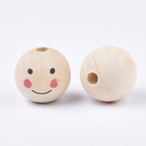 lesene perle z obrazom 24~25 mm, velikost luknje: 5.5 mm, 1 kos