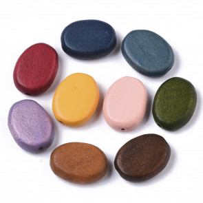 lesene perle, ovalne oblike, 5.5x14x18 mm, luknja: 1,5 mm, mix, 10 kos