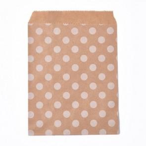 papirnata vrečka 18x13 cm, rjava z belimi pikami, 1 kos