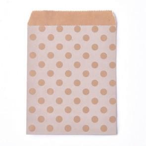 papirnata vrečka 18x13 cm, bela z rjavimi pikami, 1 kos