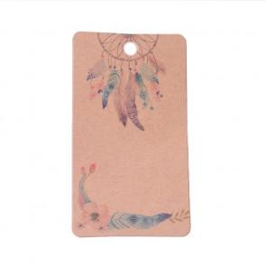 kartonček za uhane 9x5 cm, naravne rjave barve z vzorcem perja, 1 kos