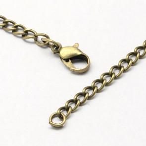 kovinska osnova za ogrlico 80 cm, antik, 1 kos