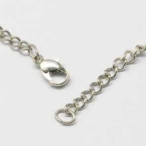 kovinska osnova za ogrlico 80 cm, platinaste b., 1 kos