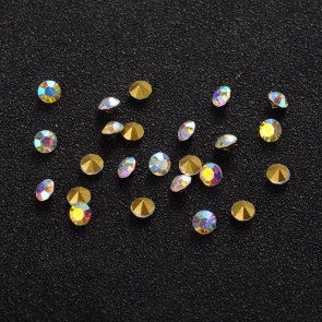 steklene perle brez luknje 2,9 mm, kamenčki, Crystal AB, 10 kos