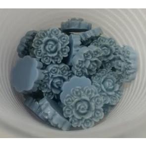 roža - umetna masa, vintage, 13x13 mm, debelina: 5 mm, siva, 1 kos