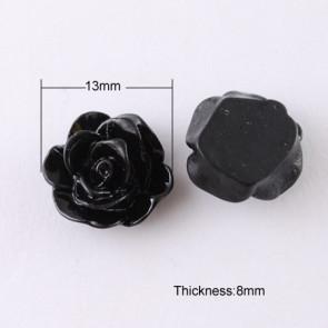 roža - umetna masa, 13x8 mm, črna, 1 kos