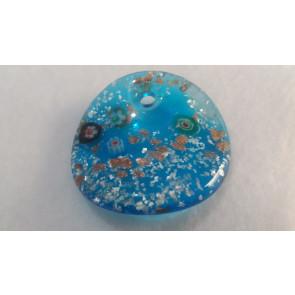 Millefiori obesek - steklen, 45 mm ukrivljen, moder, 1 kos