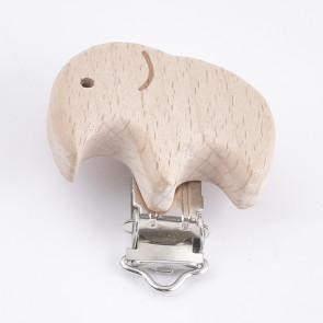 osnova za obesek - za dudo, les, motiv slon, velikost 38x41, 1 kos