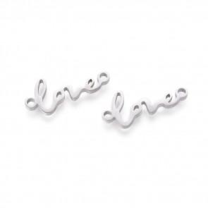 """obesek/vmesnik za nakit, oblika """"love"""", 17x7x1 mm, luknja: 1.4 mm, nerjaveče jeklo, 1 kos"""