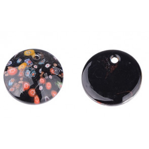 Millefiori obesek - steklen, 45 mm, črni, 1 kos