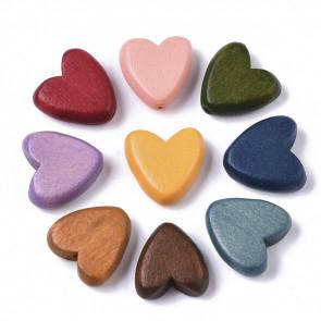 lesene perle, oblika srca, 6x15.5x15.5 mm, luknja: 1.5 mm, mix, 10 kos