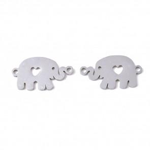 obesek/vmesnik za nakit, oblika slon, 19.5x11x1 mm, luknja: 1.4 mm, nerjaveče jeklo, 1 kos
