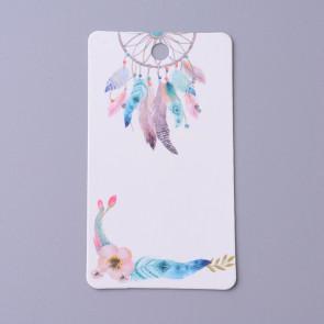 kartonček za uhane 9x5x0.4 cm, bele b. z vzorcem lovilec sanj, 1 kos