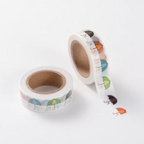 Washi tape - dekorativni lepilni trak - dežniki, širina: 15 mm, dolžina: 10 m, 1 kos