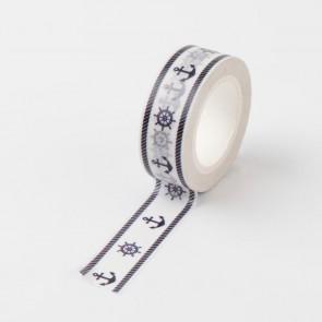 Washi tape - dekorativni lepilni trak - mornarski, širina: 15 mm, dolžina: 10 m, 1 kos