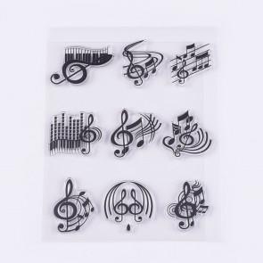 silikonske štampiljke 22~32x27~34mm, glasbene - note, 1 komplet